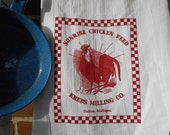 Sale, flour sack towel, Red Rooster towel, tea towel, white hand towel, feed sack towel, chicken towel, feed sack towel, towel, bar towel