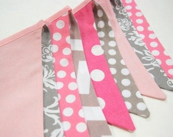 Spa Day, Ballet Birthday Party Decoration in Pink & Gray -- Banner Bunting Flags for Baby Shower, Photo Prop, Princess theme -- SALE