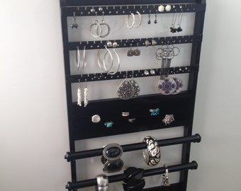 "Jewelry Organizer Double Deluxe, ""You Choose The Stain"" 25 x 14, Bracelet Holder, Earring Rack, Ring, Necklace, Wall Mount, Solid Oak Wood"