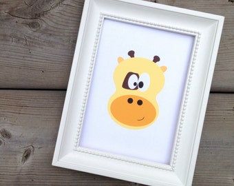 Giraffe Print, Kids Wall Art Animal, Cute Nursery Decor, Animal Art Poster, Children's Room Art Print