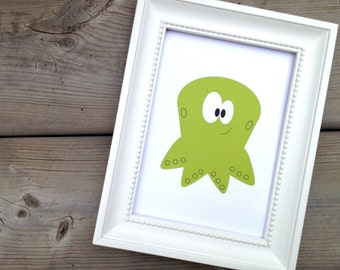 Green Octopus Print, Baby Nursery Decor, Art for Kids Room, Childrens Animal Art, Ocean Animal Print, Artwork for Baby