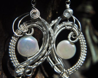Wire Woven Pearl Earrings