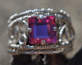 Fuchsia Crystal Filigree Ring Size 6