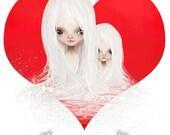 "ACEO/ATC - ""we <3 art"" - Artists Trading Card Premium Fine Art Mini Print 2.5x3.5 - Cute Little Twin Sisters - Sisterly love - Sweet"