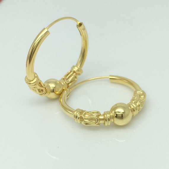 Sunlit gold hoop earrings men's earrings sphere wire by ...