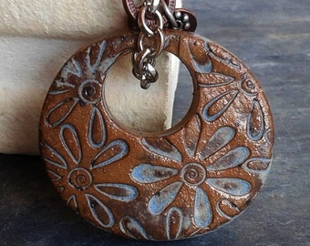 Flower Power Ceramic Pendant in Desert Sky Blue Matte glaze, rustic western chic