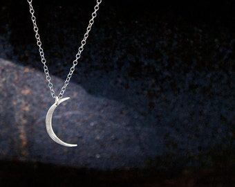 Mini Crescent Moon Necklace- Handcut Modern Silver Crescent Moon Shape