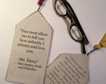 Mr. Darcy, book mark, bibliophile, book lovers gift, fabric with tassel, pride and prejudice, jane austen