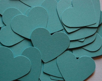 Robin Egg Turquoise Blue Heart Cut Outs -- Set of 50 hearts --Confetti-Wedding-Valentine-Blue Paper Heart-Table Decor-Shower- Ready to Ship