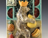 Ceramic Tile, Art Tile,Ceramic sculpture, Bear with Fruit and Bird
