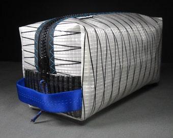 Sailcloth Toiletry Kit / Dopp Kit / Toiletry Bag - White Xply, Blue and Teal