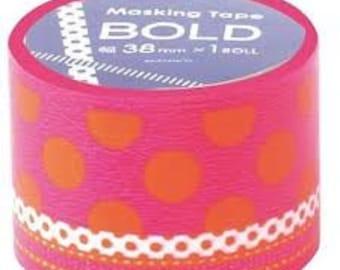 BOLD -  japanese washi masking tape -bold - dot/ribbon - B