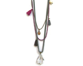 Boho Jewelry. Muse Layered Long Bohemian Necklace  With Charms in Mauve