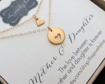 Mother daughter necklace, Gold heart mother daughter jewelry & card set, mothers day gift from daughter