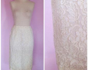 Vintage 1950s Lace Pencil Skirt/ 26 Waist