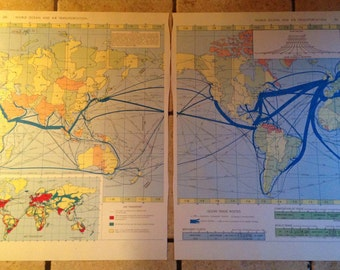 1962 World Ocean and Air Transportation Map Antique Illustration