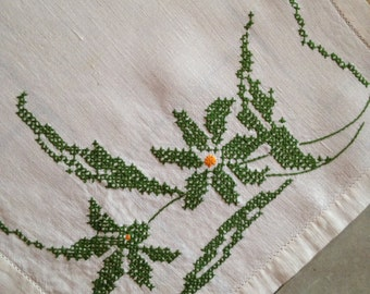 Cross Stitch Lily Table Runner or Dresser Scarf