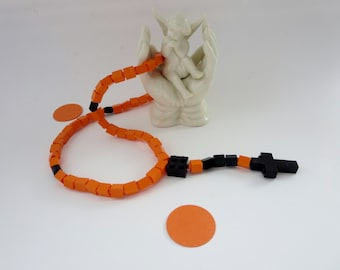 Catholic Lego Rosary - Orange and Black Lego Rosary - Ready to Ship