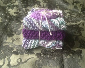 Cotton dish cloth set of 3 with Scrubby