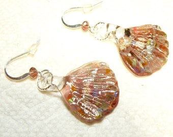 Purple and Multicolor Glass Scallop Shell Earrings with Goldstone Accent