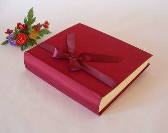 Photo album - crimson with burgundy ribbon - 8x10 in 20.5x24.5cm -  50 pages - Ready to ship