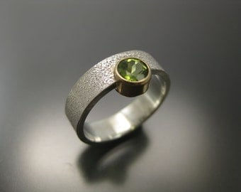 peridot ring in 14k gold setting and sterling silver band, gemstone ring, green ring, green peridot, gold ring, recycled silver and gold