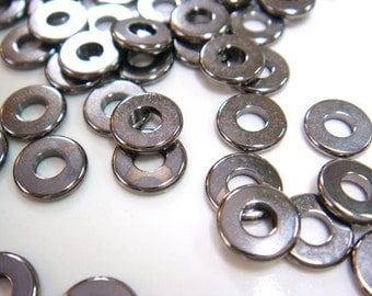 new / W112BK / 60Pc / D7mm x 1.1mm - Gunmetal Machined Cut Washer / Spacer Beads