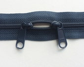 One 30 Inch 4.5mm YKK Zippers with Two Long Pull Head to Head Sliders Color 560 Dark Navy Blue