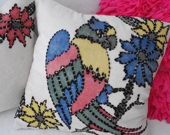 pair of vintage pillow covers parrot bird  flowers    ready to ship