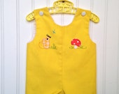 3-6 month Vintage yellow mouse and mushroom baby romper