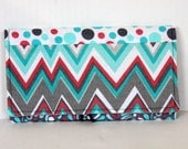 Coupon organizer wallet- Pink, turquoise and gray patchwork 2