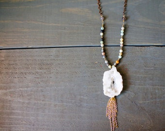 White Druzy Pendant with Chain Tassel and Amazonite