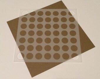 Square 5 inch stencil - Circles / Dots