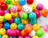 Happy Face Beads - 12mm Kawaii Happy Face Beads Round Smile Faces Small Colorful Plastic or Acrylic Bead - 60 pc set