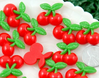 Resin Cabochons - 20mm Super Cute Red Cherries Fruit Flatback Cherry Resin Cabochons – 6 pc set