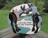 Vintage Smokey Mountain Pottery Plaque--Let's Go Over The Hill Together--Gatlinburg TN--Travel Souvenir--Horse Plaque