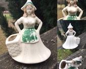 Vintage Dutch Girl--Lady Planter--Succulent Planter--Mid Century Cottage Chic--Retro--Tapletop Planter