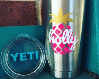 Pineapple Decal/YETI/Rambler/Tumbler Decal/Personalized Vinyl Name Stickers for Yeti Tumbler/Custom Yeti Decal
