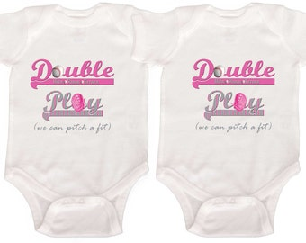 Twin Girls One Pieces Baseball Rompers by Mumsy Goose Newborn Rompers to Girly Tees