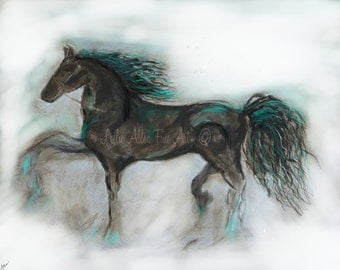"Horse Art Print Horse Wall Art Horses Friesian Abstract Paintings Print Teal Decor Horse Giclee  ""Striking Stallion""  Leslie Allen Fine Art"