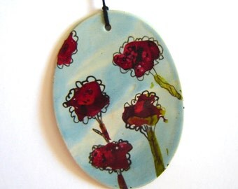 Red Rose Ornament Painted Ceramics Alcohol Ink Art for Home Décor Abstract Art