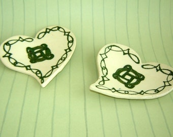 Irish Heart Dish Set - Celtic Design - Tea Bag Holder - Spoon Rest - Green and White Pottery - St Patricks Day