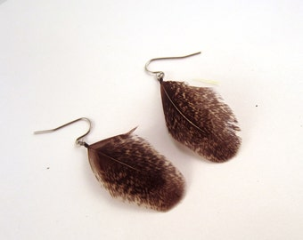 Natural  Cruelty Free Feather Earrings Hen