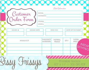 INSTANT DOWNLOAD - Printable Business Customer Invoice - Business Order Form - Etsy Craft Show Order Form - Work At Home and Online Invoice