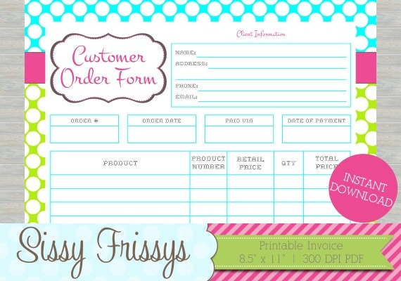 Instant download printable business customer invoice for Embroidery order form template free