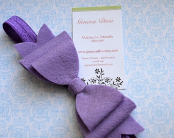 NEW-Lavender Felt Bow Stretch Headband