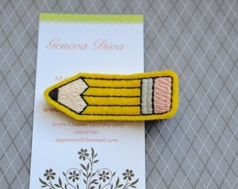 Pencil....Embroidered Felt Hairclip
