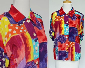 80's Bright Neon Blouse/ Drop Shoulders / Short Sleeves / Small to Medium