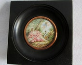 Antique French Miniature Painting, Lady with Cherub Angel & Dog