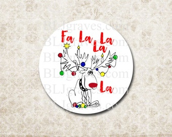 Rudolph Reindeer Christmas Stickers Envelope Seals Party Favor Treat Bag Sticker CS008